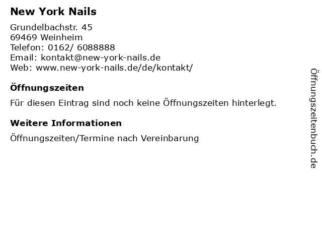 New York Nails in Weinheim: Adresse und Öffnungszeiten