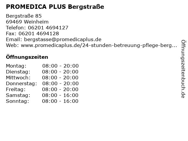 PROMEDICA PLUS Bergstraße in Weinheim: Adresse und Öffnungszeiten