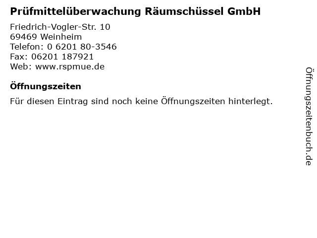 Prüfmittelüberwachung Räumschüssel GmbH in Weinheim: Adresse und Öffnungszeiten