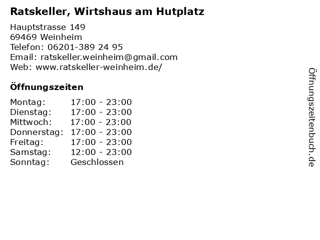 Ratskeller, Wirtshaus am Hutplatz in Weinheim: Adresse und Öffnungszeiten