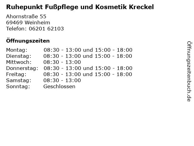Ruhepunkt Fußpflege und Kosmetik Kreckel in Weinheim: Adresse und Öffnungszeiten