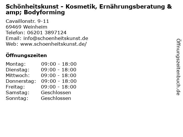 Schönheitskunst - Kosmetik, Ernährungsberatung & Bodyforming in Weinheim: Adresse und Öffnungszeiten