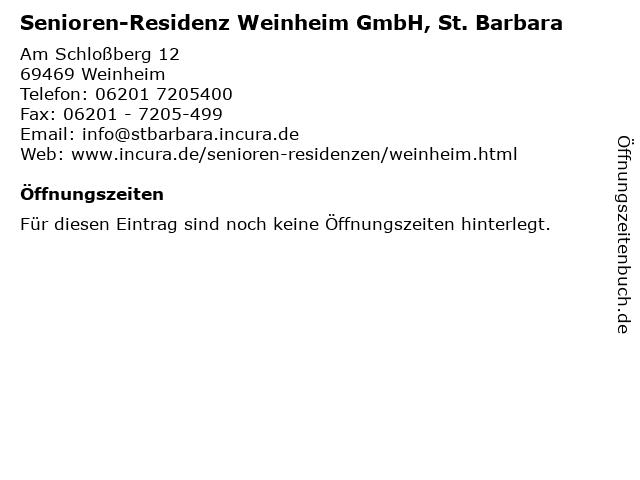 Senioren-Residenz Weinheim GmbH, St. Barbara in Weinheim: Adresse und Öffnungszeiten