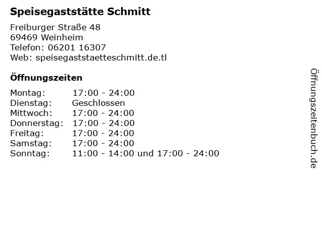 Speisegaststätte Schmitt in Weinheim: Adresse und Öffnungszeiten
