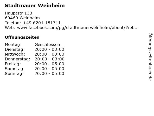 Stadtmauer Weinheim in Weinheim: Adresse und Öffnungszeiten