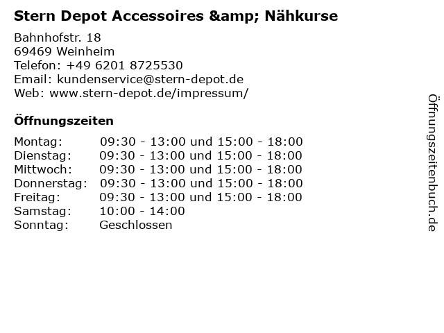 Stern Depot Accessoires & Nähkurse in Weinheim: Adresse und Öffnungszeiten