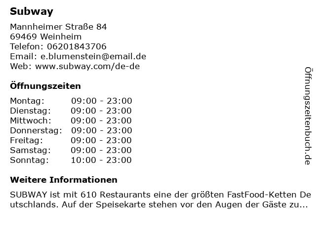 Subway in Weinheim: Adresse und Öffnungszeiten