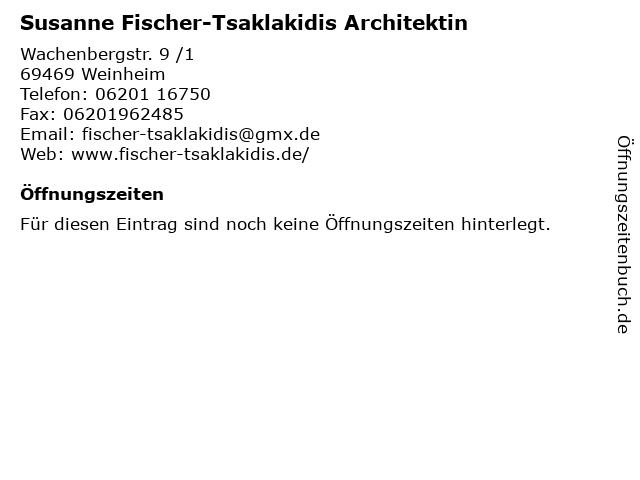 Susanne Fischer-Tsaklakidis Architektin in Weinheim: Adresse und Öffnungszeiten