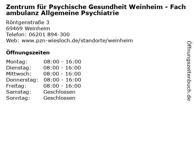Zentrum für Psychische Gesundheit Weinheim - Fachambulanz Allgemeine Psychiatrie in Weinheim: Adresse und Öffnungszeiten