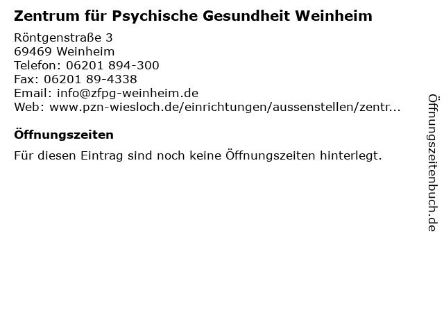 Zentrum für Psychische Gesundheit Weinheim in Weinheim: Adresse und Öffnungszeiten