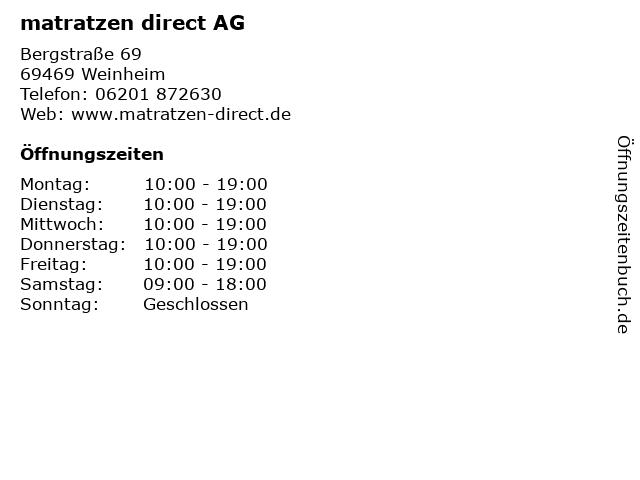 matratzen direct AG in Weinheim: Adresse und Öffnungszeiten