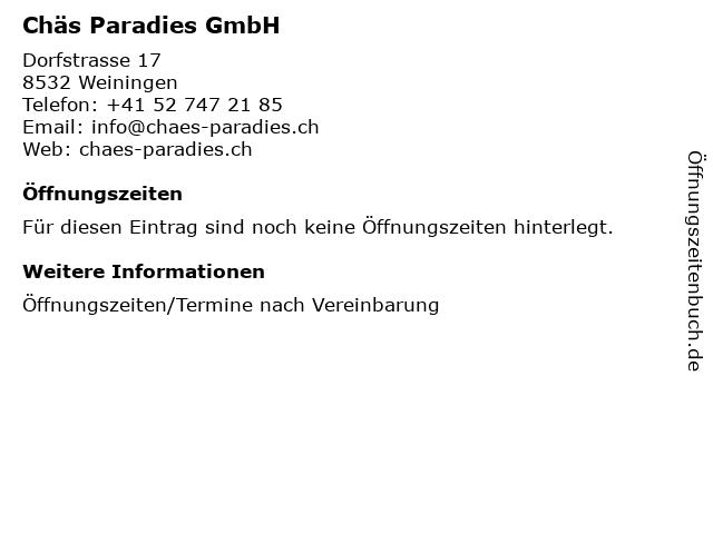 Chäs Paradies GmbH in Weiningen: Adresse und Öffnungszeiten