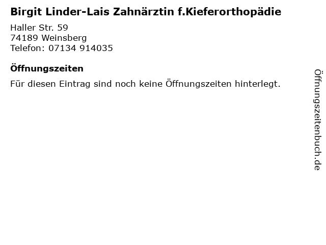 Birgit Linder-Lais Zahnärztin f.Kieferorthopädie in Weinsberg: Adresse und Öffnungszeiten