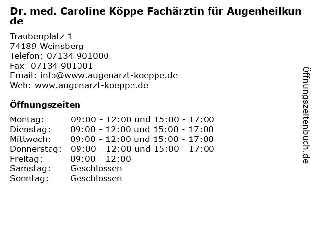 Dr. med. Caroline Köppe Fachärztin für Augenheilkunde in Weinsberg: Adresse und Öffnungszeiten