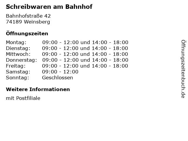 Schreibwaren am Bahnhof in Weinsberg: Adresse und Öffnungszeiten