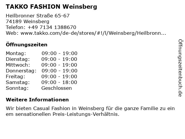 Takko Fashion in Weinsberg: Adresse und Öffnungszeiten