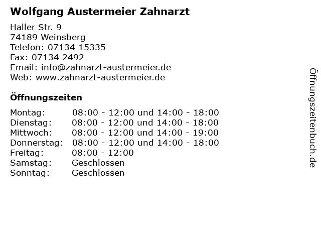 Wolfgang Austermeier Zahnarzt in Weinsberg: Adresse und Öffnungszeiten