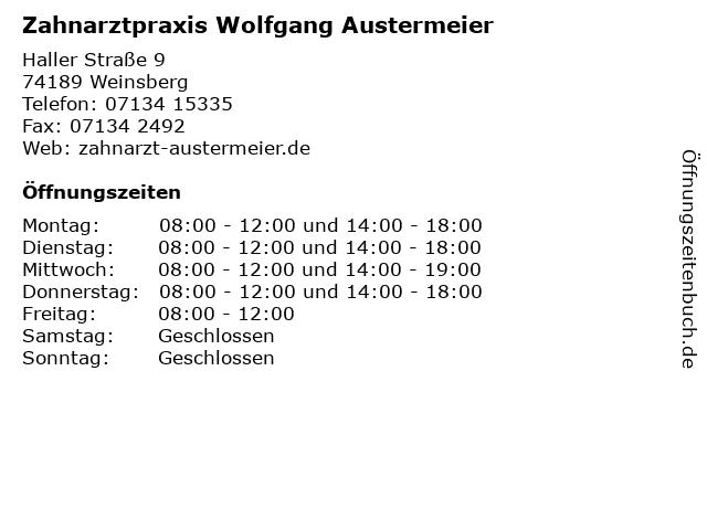 Zahnarztpraxis Wolfgang Austermeier in Weinsberg: Adresse und Öffnungszeiten