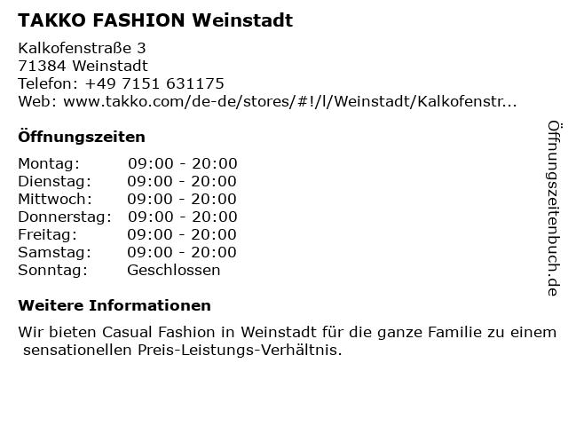 Takko Fashion in Weinstadt - Endersbach: Adresse und Öffnungszeiten