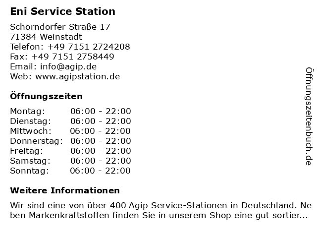 Agip Service Station in Weinstadt: Adresse und Öffnungszeiten