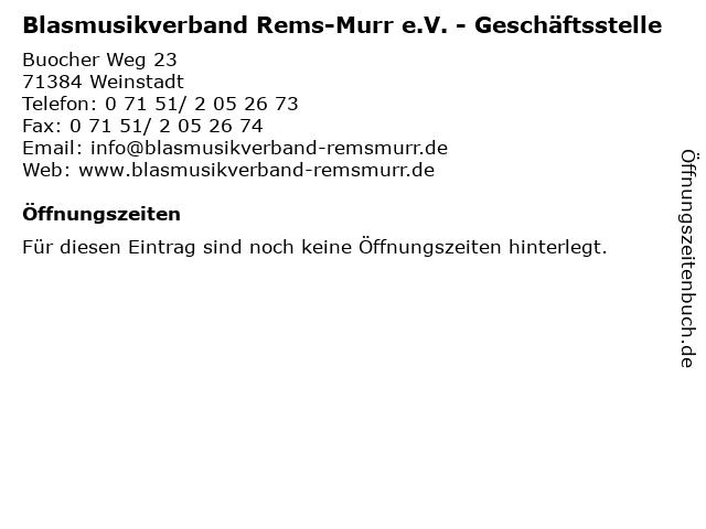Blasmusikverband Rems-Murr e.V. - Geschäftsstelle in Weinstadt: Adresse und Öffnungszeiten