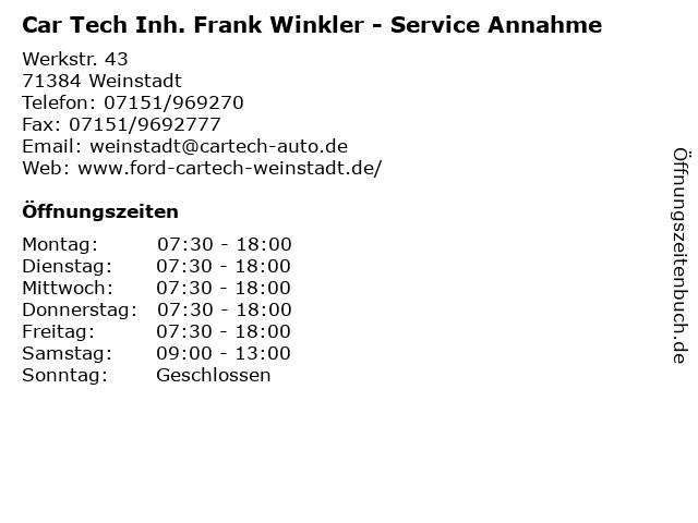Car Tech Inh. Frank Winkler - Service Annahme in Weinstadt: Adresse und Öffnungszeiten