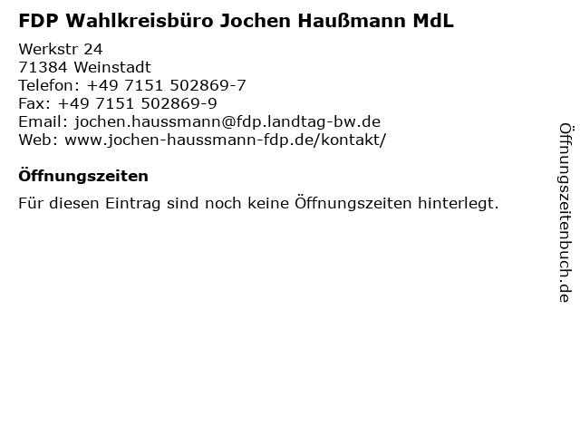 FDP Wahlkreisbüro Jochen Haußmann MdL in Weinstadt: Adresse und Öffnungszeiten