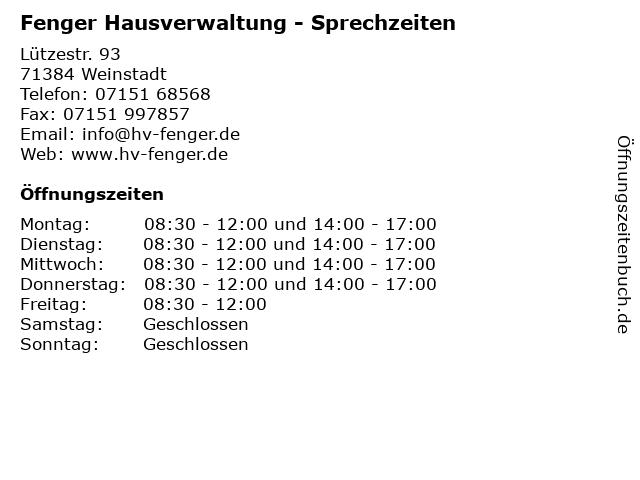 Fenger Hausverwaltung - Sprechzeiten in Weinstadt: Adresse und Öffnungszeiten