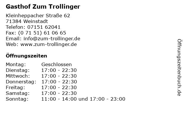 Gasthof Zum Trollinger in Weinstadt: Adresse und Öffnungszeiten