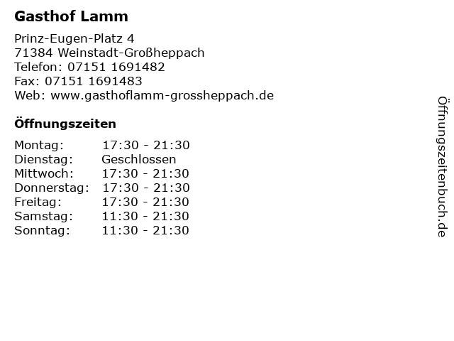 Gasthof Lamm in Weinstadt-Großheppach: Adresse und Öffnungszeiten