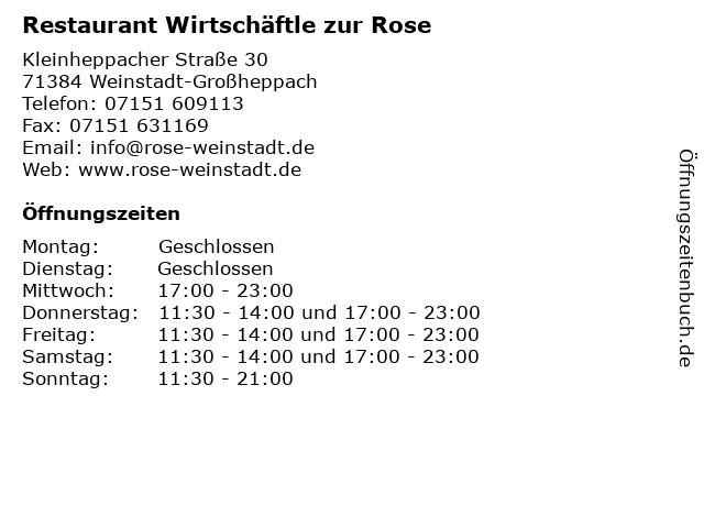 Restaurant Wirtschäftle zur Rose in Weinstadt-Großheppach: Adresse und Öffnungszeiten