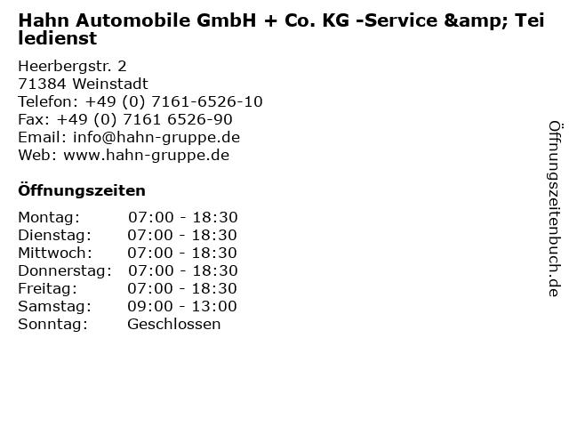 Hahn Automobile GmbH + Co. KG -Service & Teiledienst in Weinstadt: Adresse und Öffnungszeiten