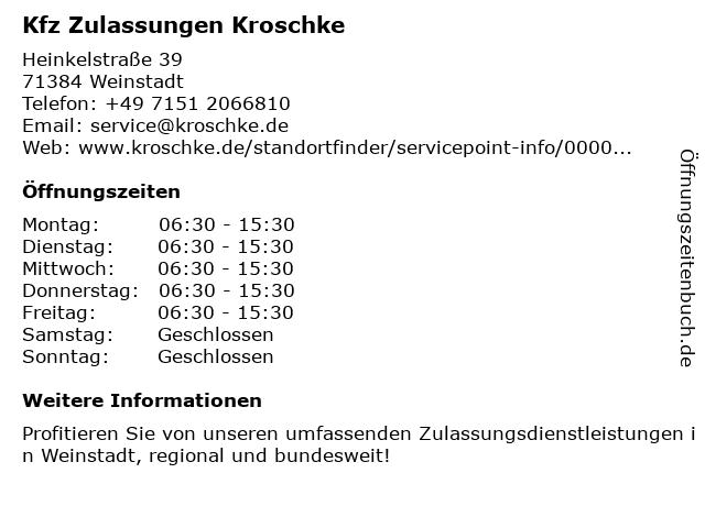 Kfz Zulassungen und Kennzeichen Kroschke in Weinstadt: Adresse und Öffnungszeiten