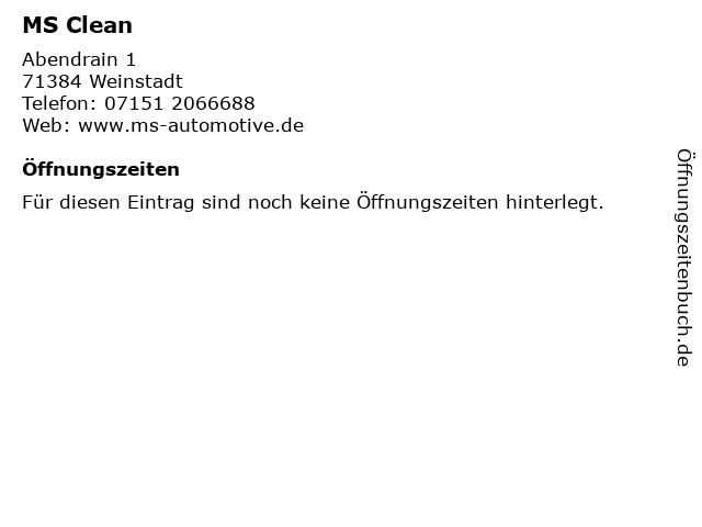MS Clean in Weinstadt: Adresse und Öffnungszeiten
