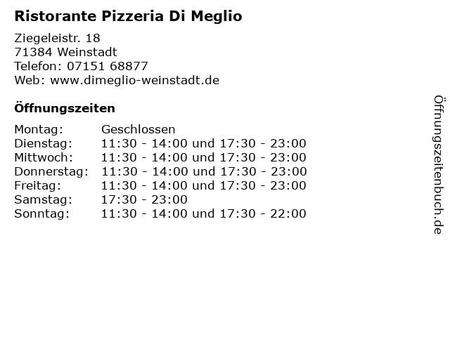Ristorante Pizzeria Di Meglio in Weinstadt: Adresse und Öffnungszeiten