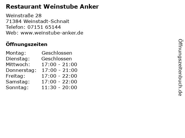 Restaurant Weinstube Anker in Weinstadt-Schnait: Adresse und Öffnungszeiten