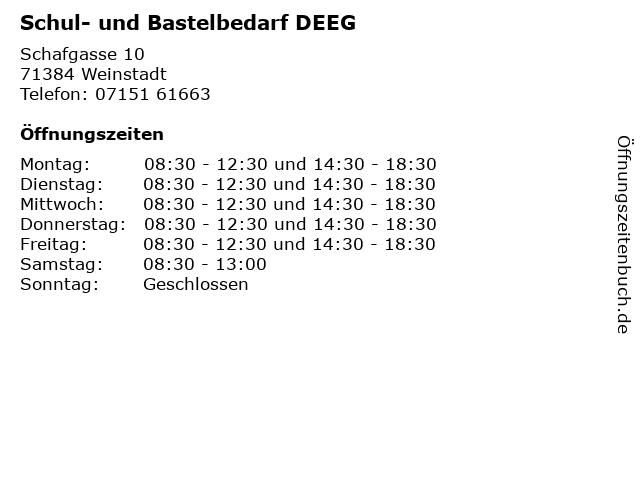 Schul- und Bastelbedarf DEEG in Weinstadt: Adresse und Öffnungszeiten