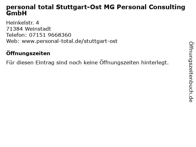 personal total Stuttgart-Ost MG Personal Consulting GmbH in Weinstadt: Adresse und Öffnungszeiten