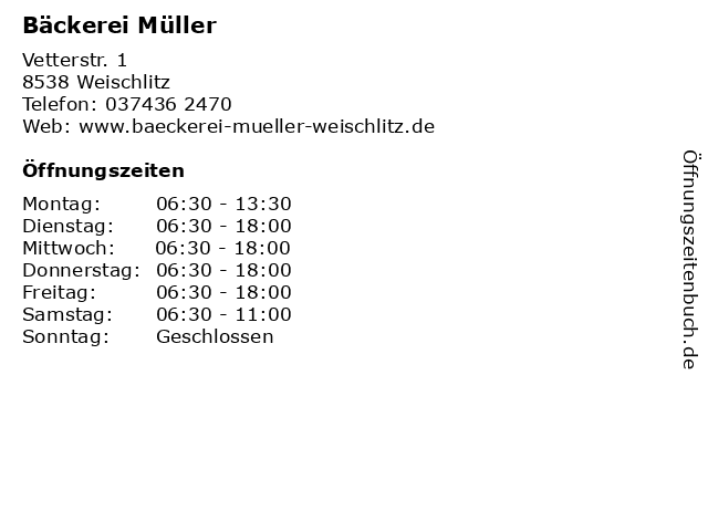 Bäckerei Müller in Weischlitz: Adresse und Öffnungszeiten