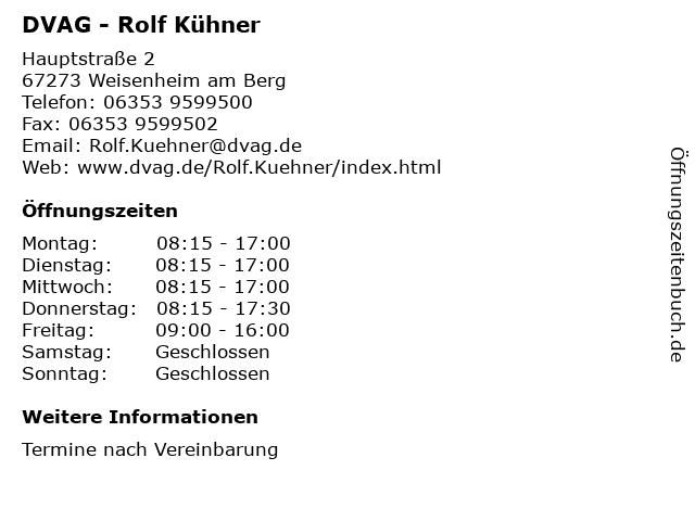 DVAG - Rolf Kühner in Weisenheim am Berg: Adresse und Öffnungszeiten