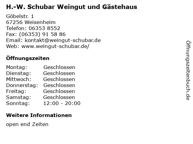 H.-W. Schubar Weingut und Gästehaus in Weisenheim: Adresse und Öffnungszeiten