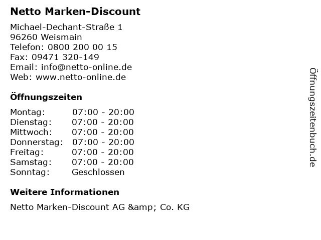 Netto Marken-Discount in Weismain: Adresse und Öffnungszeiten