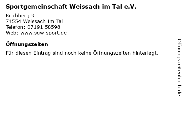 Sportgemeinschaft Weissach im Tal e.V. in Weissach Im Tal: Adresse und Öffnungszeiten