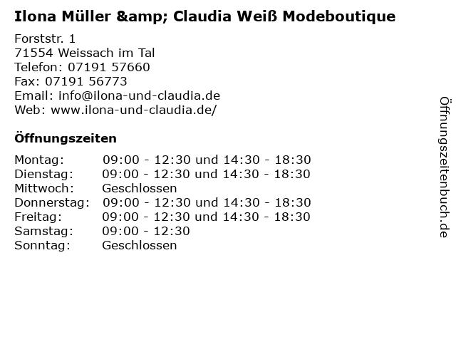 Ilona Müller & Claudia Weiß Modeboutique in Weissach im Tal: Adresse und Öffnungszeiten