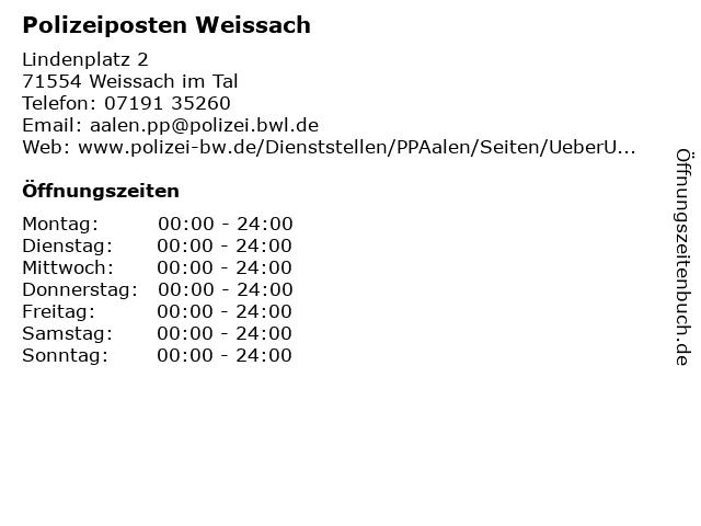 Polizeiposten Weissach in Weissach im Tal: Adresse und Öffnungszeiten