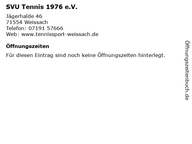 SVU Tennis 1976 e.V. in Weissach: Adresse und Öffnungszeiten