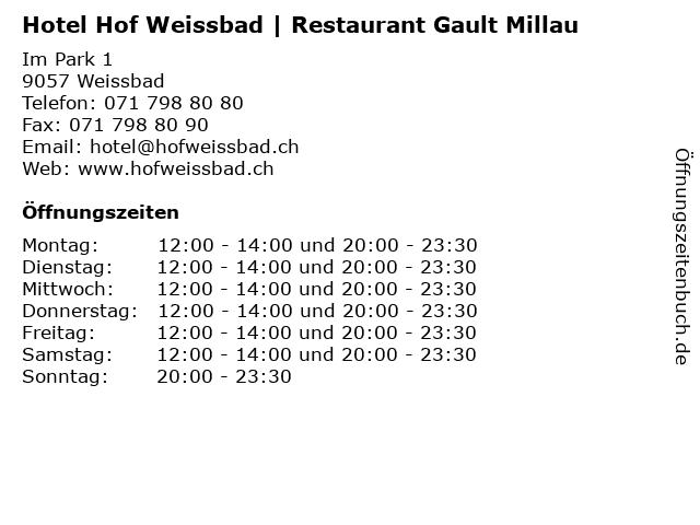 Hotel Hof Weissbad | Restaurant Gault Millau in Weissbad: Adresse und Öffnungszeiten