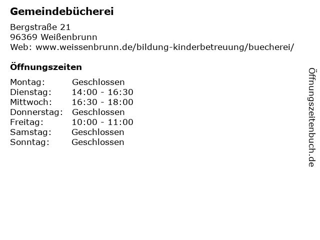 Gemeindebücherei in Weißenbrunn: Adresse und Öffnungszeiten