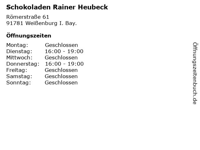 Schokoladen Rainer Heubeck in Weißenburg I. Bay.: Adresse und Öffnungszeiten