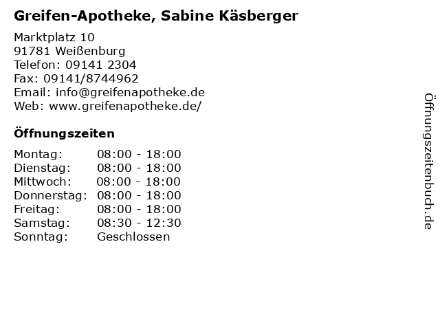 Greifen-Apotheke, Sabine Käsberger in Weißenburg: Adresse und Öffnungszeiten